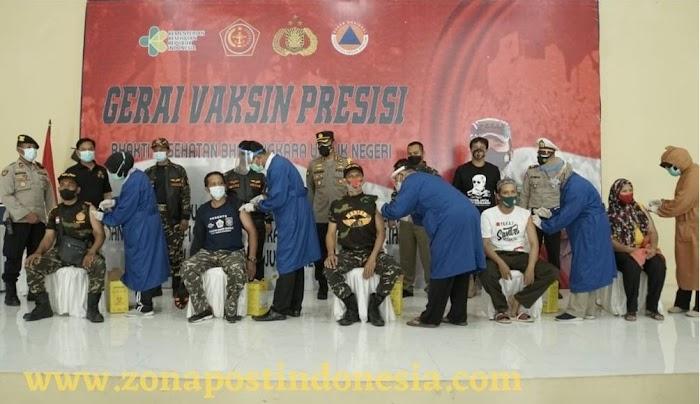 Ribuan Banser dan Komunitas Disuntik Vaksin Covid-19 di Polresta Sidoarjo