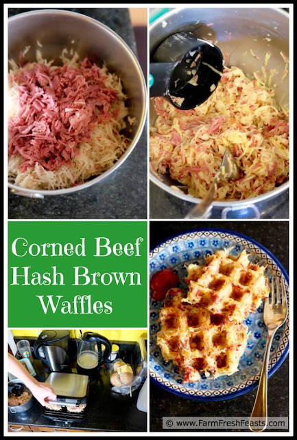 A recipe for leftover corned beef waffled with shredded potatoes for a savory treat for a post-St Patrick's day breakfast or brunch.