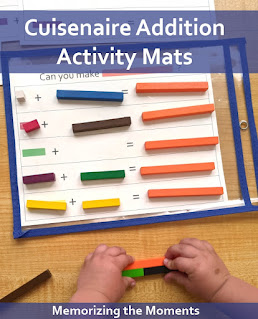 Free printable mats for practicing addition with Cuisenaire rods