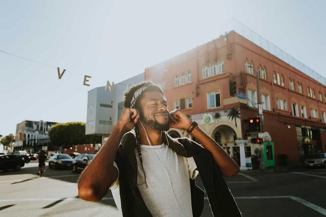 A man listening music