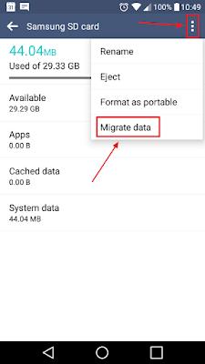 migrasi data ke memory card
