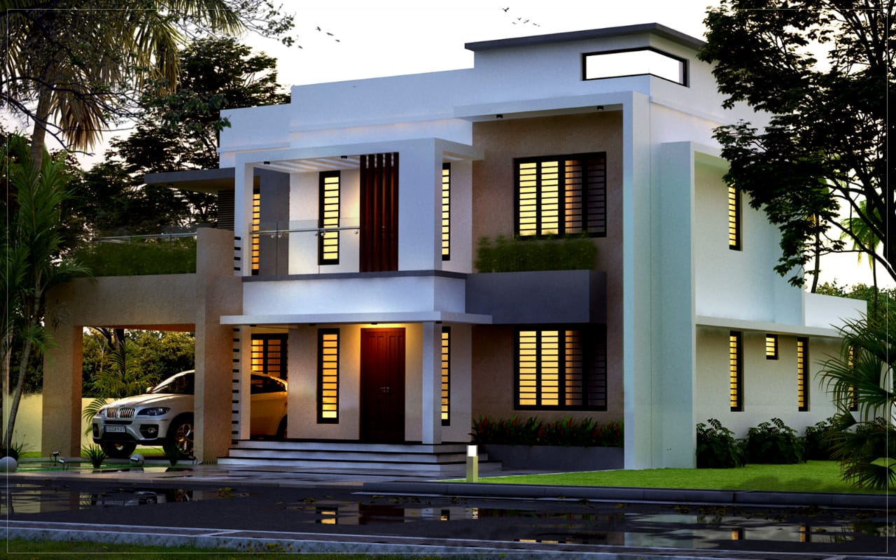 Budget oriented 4 Bed room 1900 sq ft compact villa design