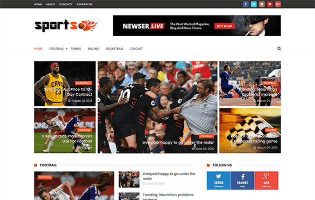 Sports Mag - Premium Version Blogger Template.