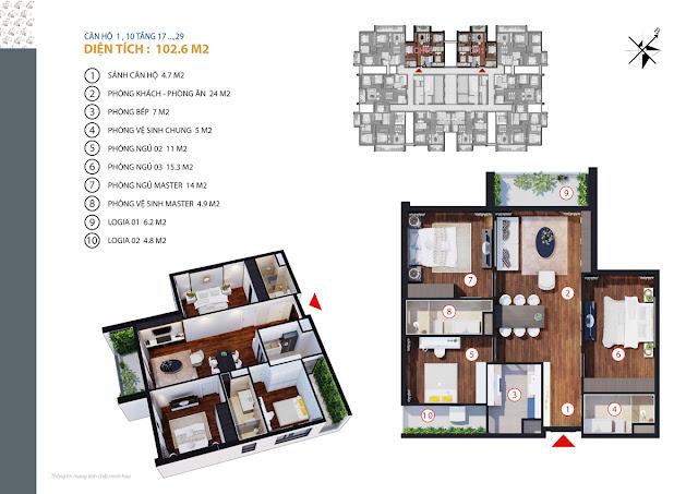 Thiết kế căn hộ điển hình Gold Tower
