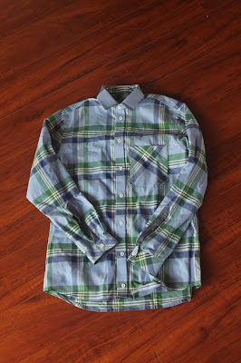 Thread Theory Fairfield Button-Up Shirt in blue plaid twill shirting.