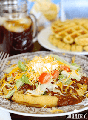 Cornbread Waffles with Chili and Fixins'