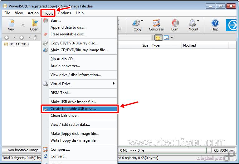كيفية حرق نسخة ويندوز علي فلاشة Usb بواسطة Poweriso بكل