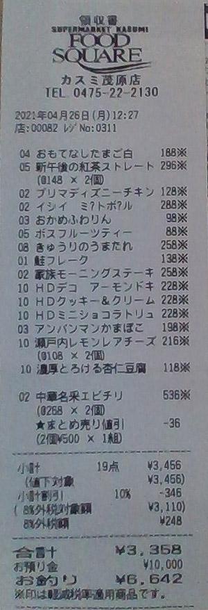 カスミ フードスクエア茂原店 2021/4/26 のレシート