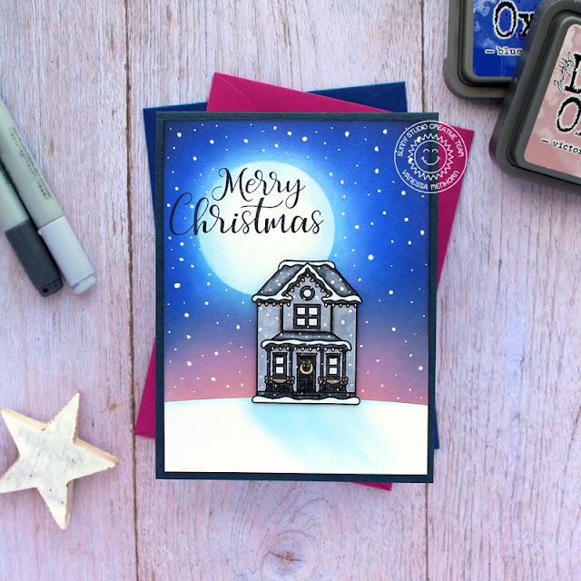 Sunny Studio Stamps: Victorian Christmas Petite Poinsettias Winter Scene Christmas Card by Vanessa Menhorn