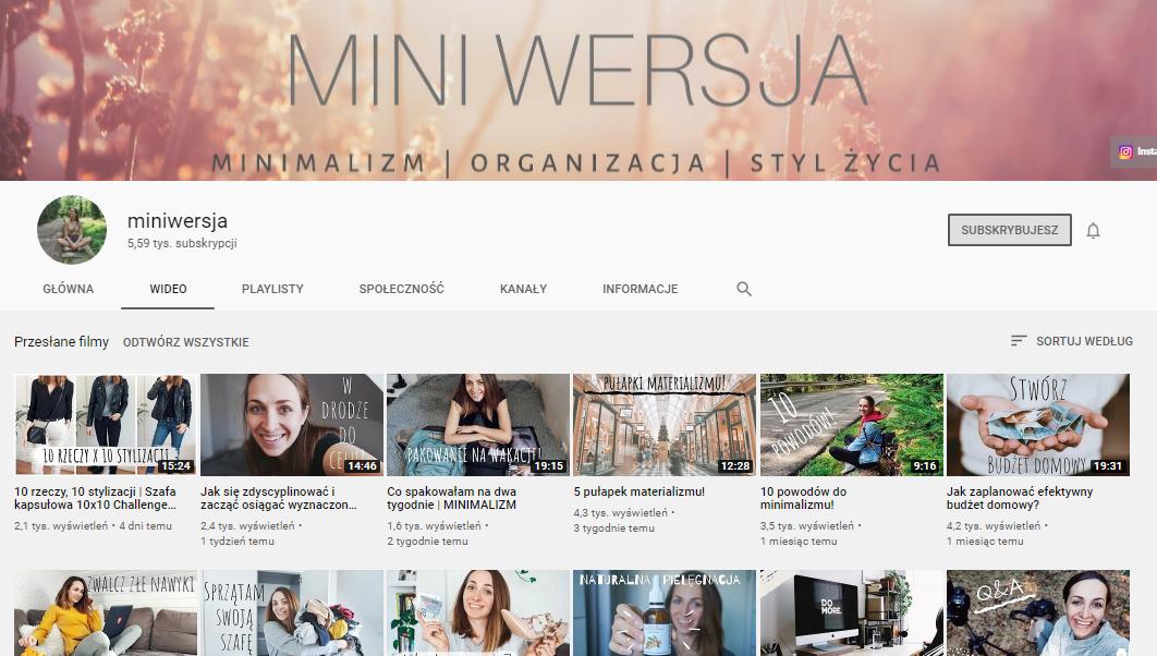 miniwersja youtube kanał o minimalizmie