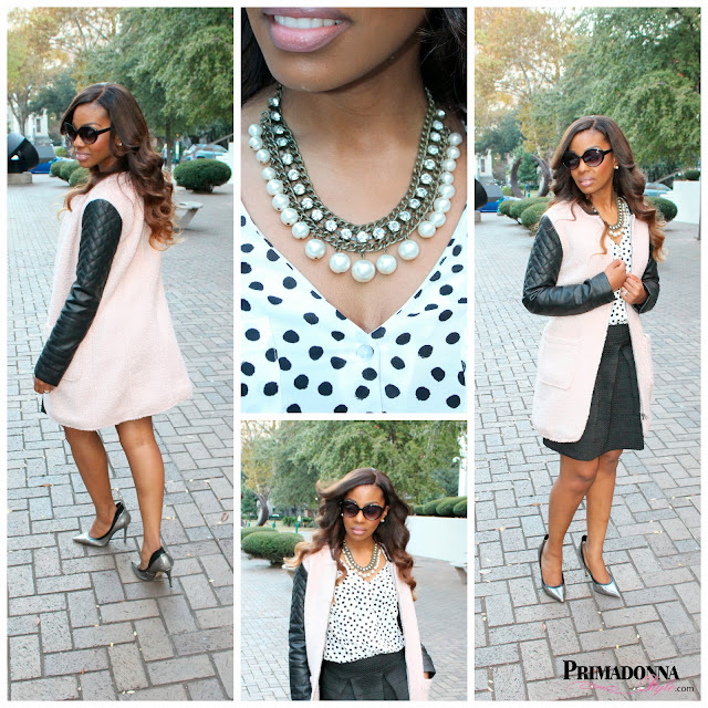 how to wear what to wear with a pink coat polka dot blouse black pleated circle cupcake skirt