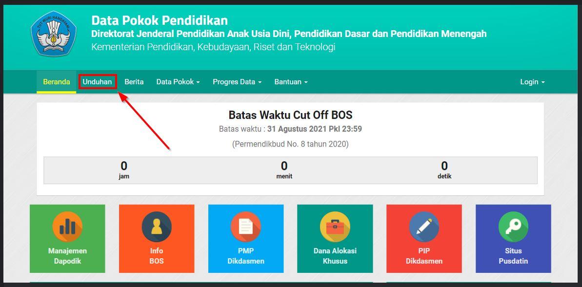 menu download dapodik terbaru 2022