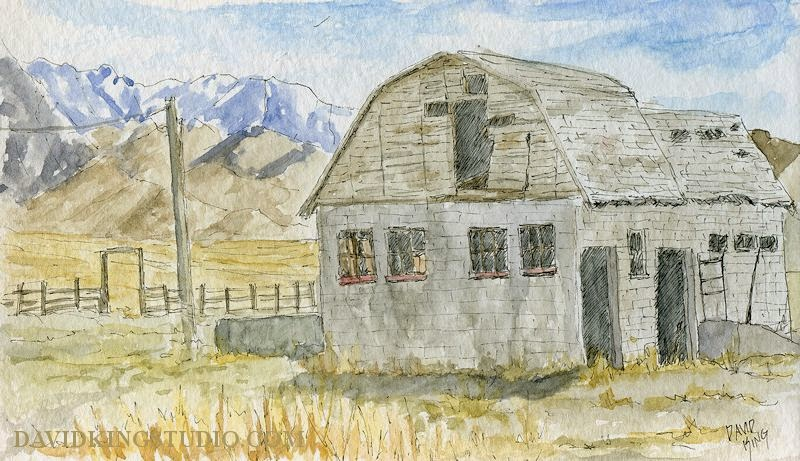 art sketch plein air pen watercolor barn rural Erda Utah