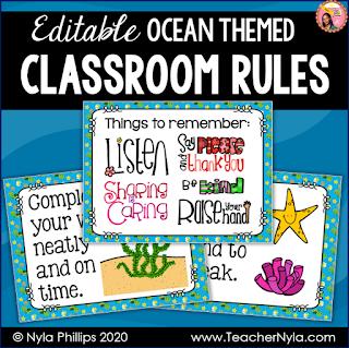 Ocean themed Classroom Rules Editable TpT