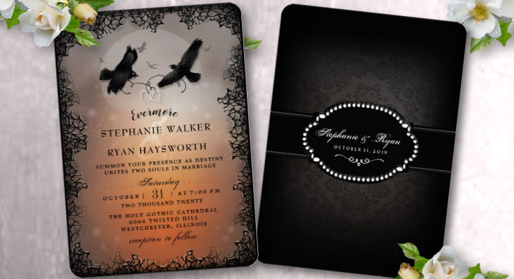 Halloween Ravens Evermore Custom Wedding Invitation Template - Halloween Evermore Wedding Collection