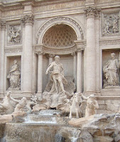 The Trevi Fountain is an example of Rome's Baroque architecture
