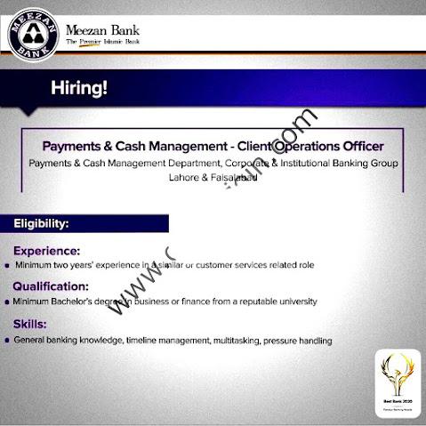 Latest Jobs in Meezan Bank Limited Pakistan 2021