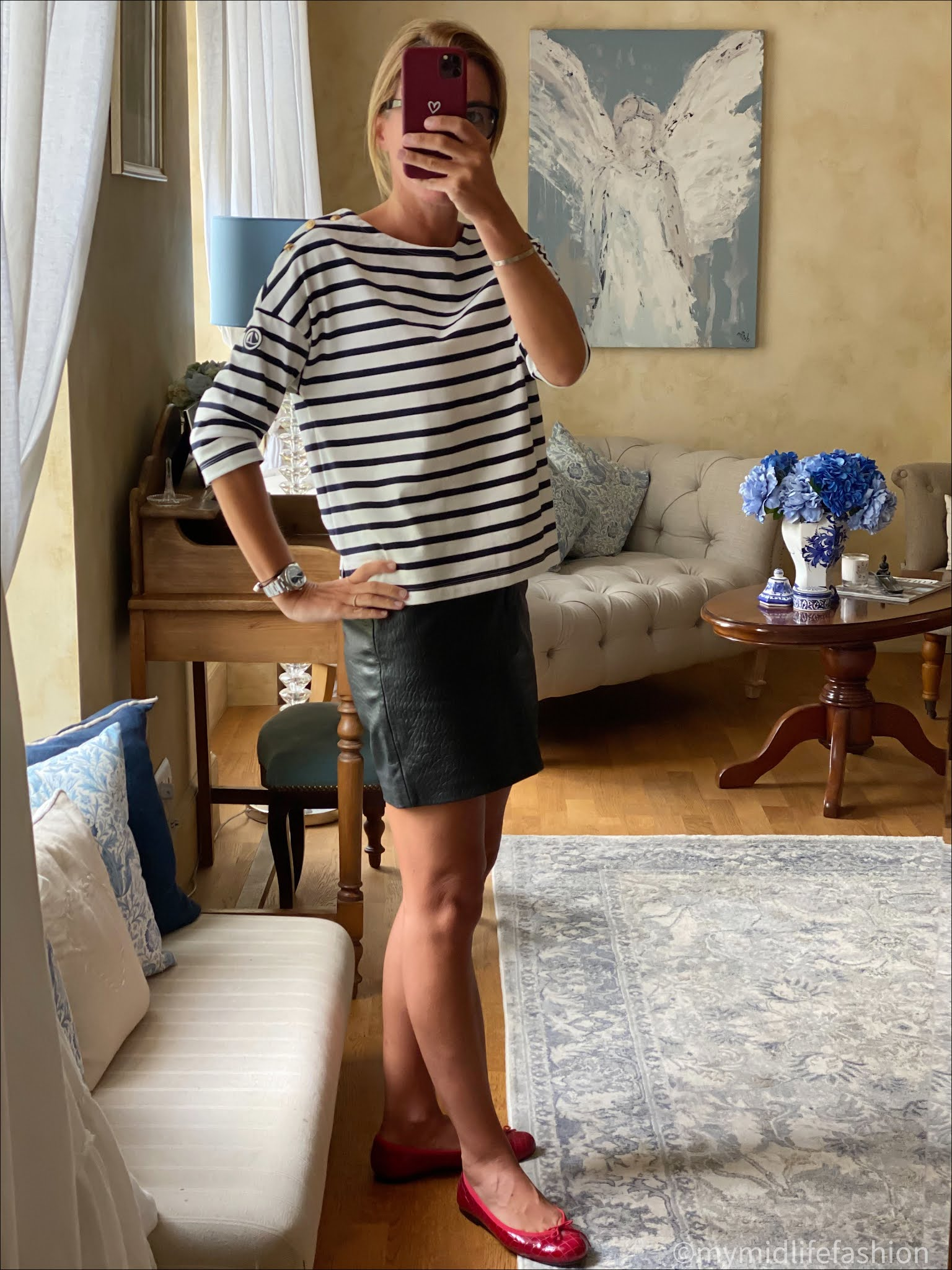 my midlife fashion, petit bateau breton stripe top, marks and Spencer faux leather skirt, French sole Henrietta ballet pumps