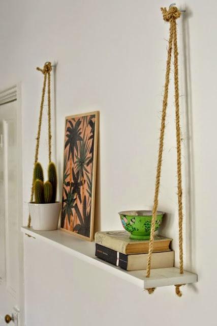Manualidades estantes cuerdas y madera