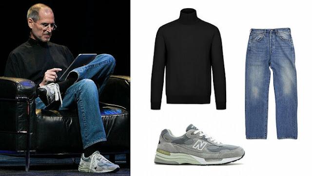 Sinh thời, Steve Jobs luôn xuất hiện với bộ đồng phục gồm áo cổ lọ đen, quần jeans và giầy thể thao. Ảnh: Psychology of Fashion
