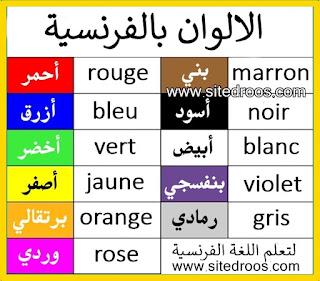 الالوان بالفرنسية les couleurs en français