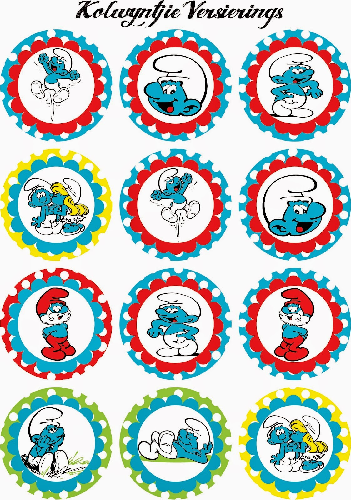Smurfs: Free Printable Mini Kit.