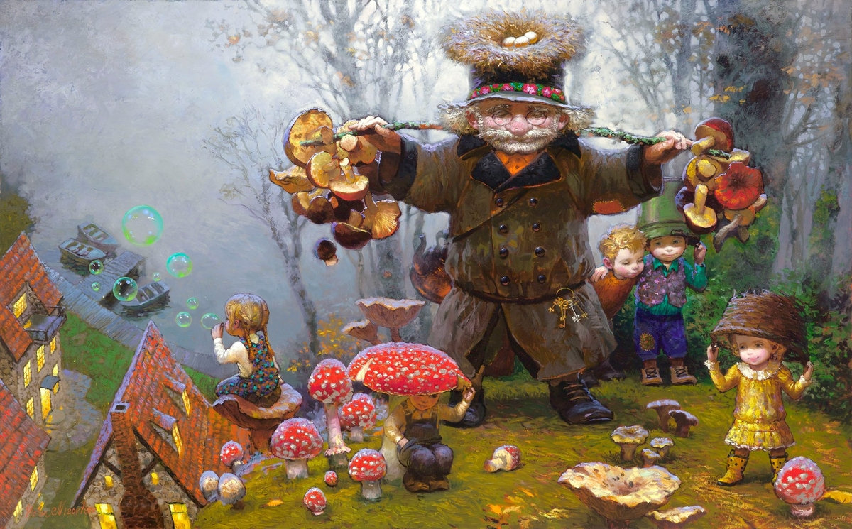 05-The-Mushroom-Pickers-Victor-Nizovtsev-Daydreaming-with-Fantasy-Oil-Paintings-www-designstack-co