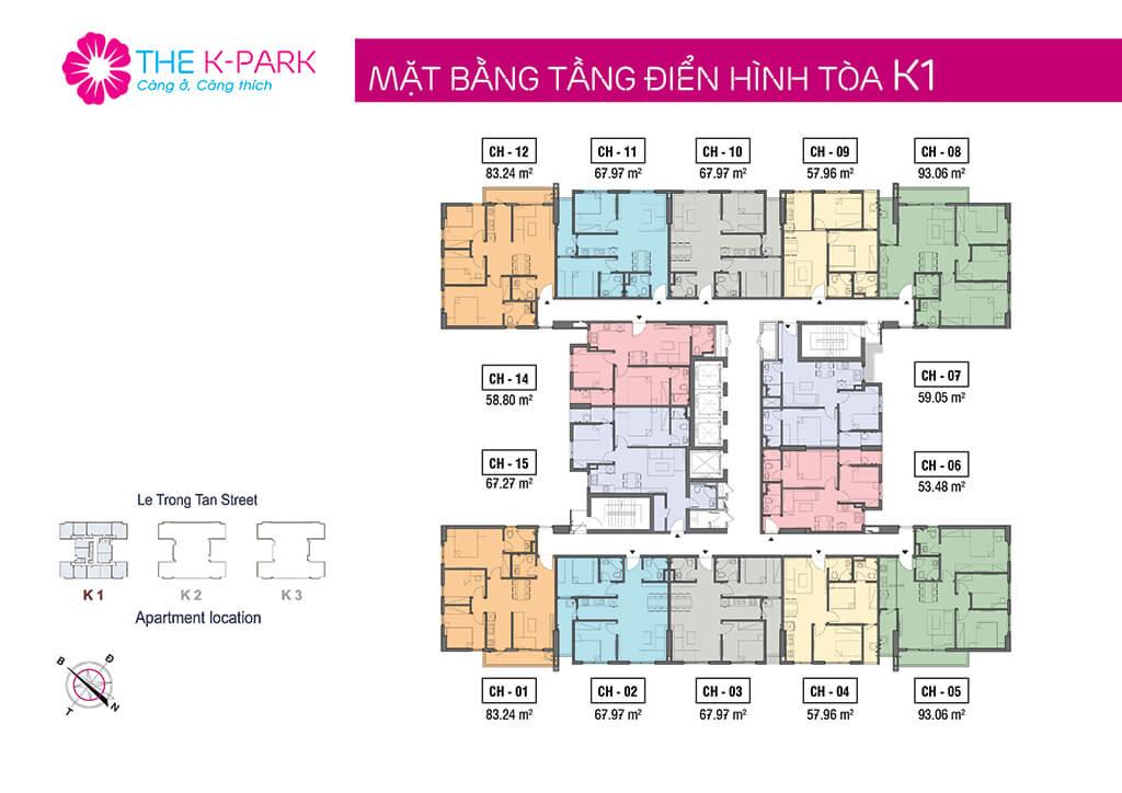Mặt bằng tầng điển hình tòa K1 - The k Park Văn Phú