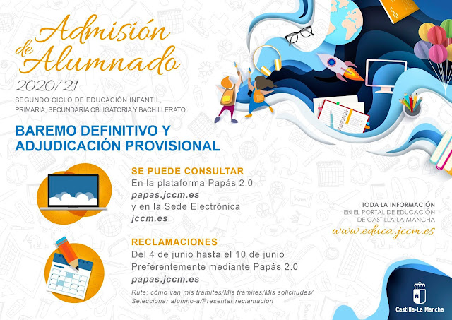 Baremo definitivo y adjudicación provisional del proceso de Admisión ESO y Bachillerato. Curso 2020/2021