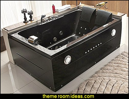 2 Person Bathtub Black Jacuzzi Type Whirlpool 14 Massage Jets Built-in Heater Waterfall Faucet FM Radio Bluetooth SPA Hot Tub