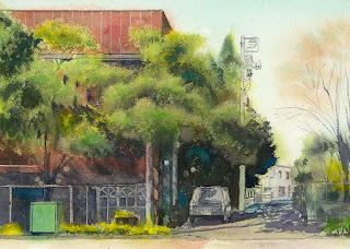 水彩画恵比寿4丁目 街路樹の葉を描く