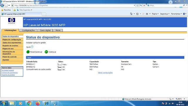 Tela inicial HP LaserJet M3035MFP