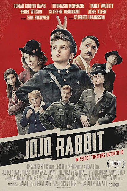 "Fox Searchlight Pictures presents ""Jojo Rabbit"" (2019) movie poster, starring Taika Waititi, Scarlett Johansson, Roman Griffin Davis, Thomasin McKenzie, Sam Rockwell, Alfie Allen, Rebel Wilson, and Stephen Merchant"