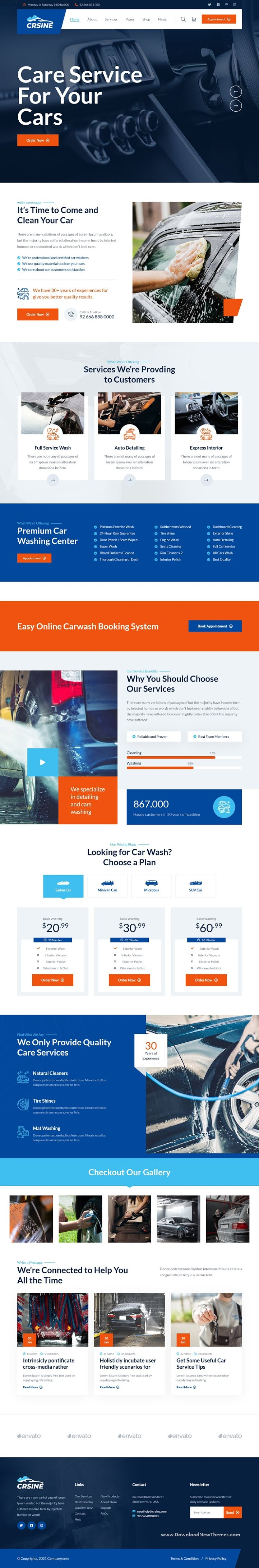 Car Washing Service Booking Bootstrap Template