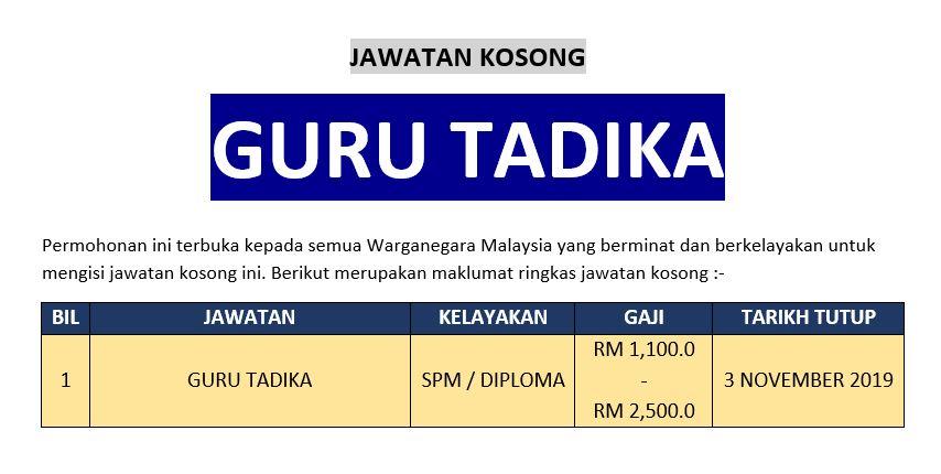[Permohonan Kerja] Jawatan Kosong Guru Tadika Ambilan Oktober - November 2019
