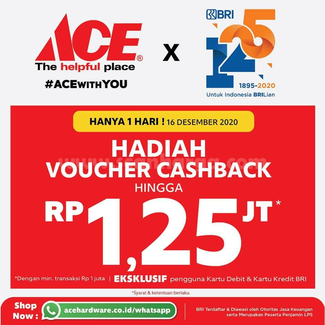 ACE INDONESIA Promo HUT BRI ke-125 – Get Voucher Cashback Hingga Rp 1.25jt