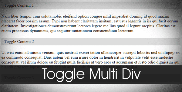 Toggle Multi Div Content