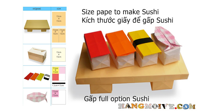 Cách gấp, xếp set món Sushi bằng giấy origami tuyệt đẹp - Video hướng dẫn