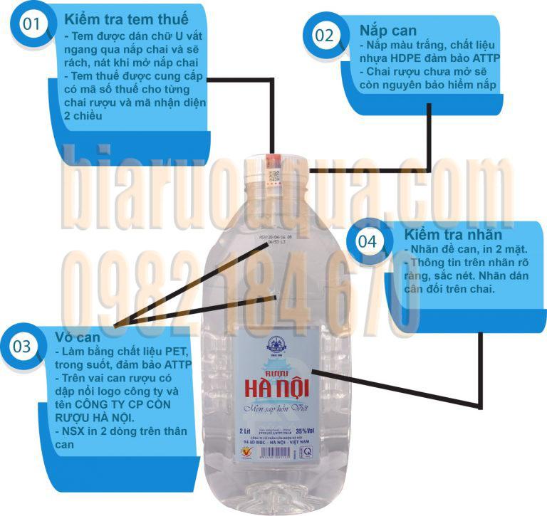 Cách nhận biết rượu Hà Nội Can 2 Lít và Rượu Hà Nội 4 Lít