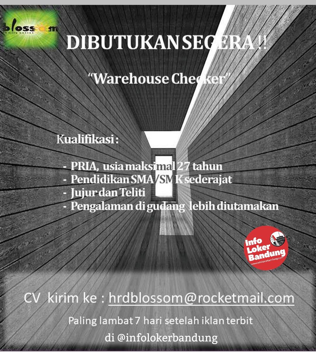 Lowongan Kerja Warehouse Checker PT. Blossom Mandiri Sejati Bandung Januari 2020