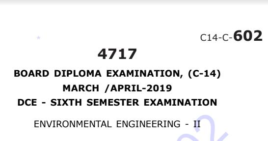 Sbtet Environmental Engineering-2 Previous Question Paper c14 Civil March/April-2019