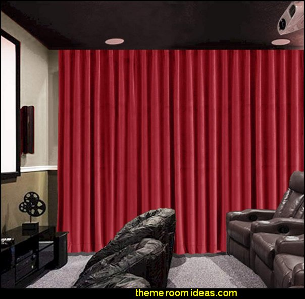 Home Theater Movie Velvet  Curtain Panel Drapes cinema room curtains