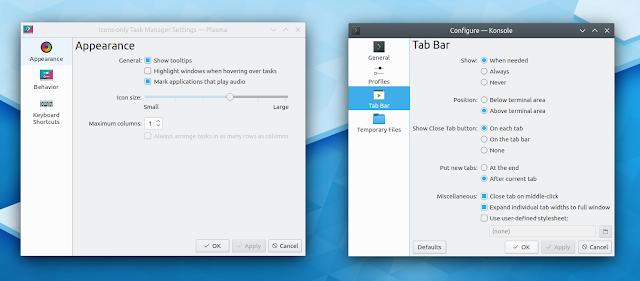 Configurações KDE