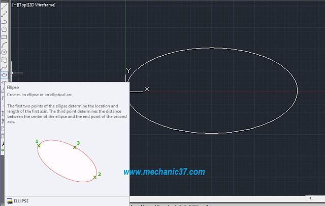 ellipse के icon पर click करके आप autocad में ellipse draw कर सकते हो