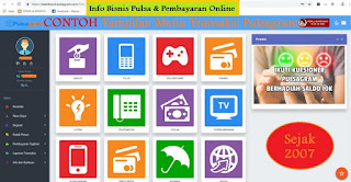 contoh tampilan menu transaksi bisnis pulsa dan pembayaran online