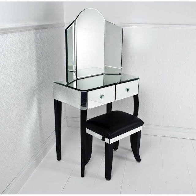 black and white corner vanity table with mirror