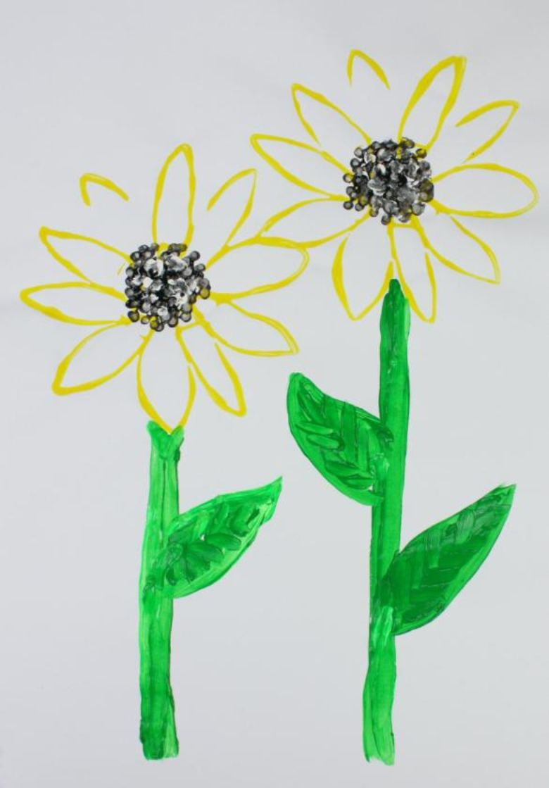 sunflower painting for kids