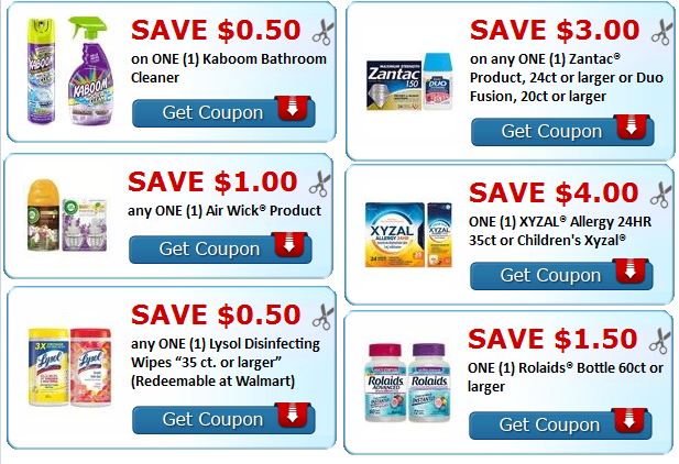 air wick, lysol, kaboom, zantac, rolaid's coupons