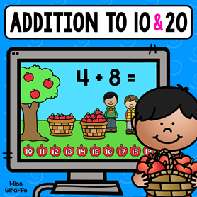 Addition to 10 and 20 practice with these cute digital math games kids can play to practice adding in a fun way!