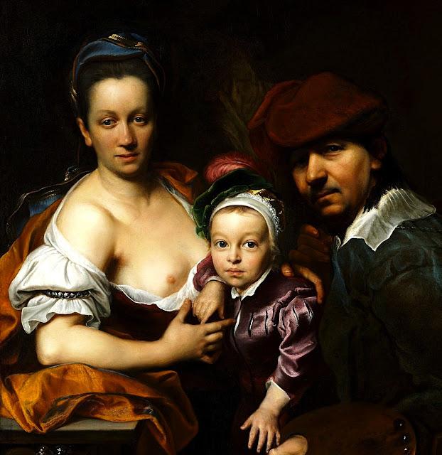 Jan Kupecky - autoritratto con famiglia - dipinti - erotismo